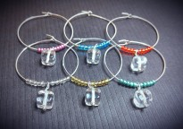Clear Cube Colored Bead Wine Glass Charms